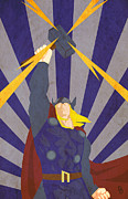 Marvel Comics Prints - The God of Thunder Print by Dave Drake