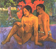 Images Of Woman Framed Prints - The Gold Of Their Bodies Framed Print by Eugene Henri Paul Gauguin