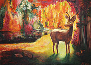 Sunshine Paintings - The golden deer by Helene Fallstrom