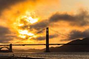 San Francisco Cali Posters - The Golden Gate at Sunset Photo San Francisco California Poster by Dave Gordon