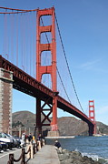 Brick Buildings Prints - The Golden Gate Bridge at Fort Point - 5D21468 Print by Wingsdomain Art and Photography