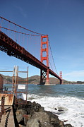 Brick Buildings Photo Prints - The Golden Gate Bridge at Fort Point - 5D21473 Print by Wingsdomain Art and Photography