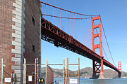 Brick Buildings Prints - The Golden Gate Bridge at Fort Point - 5D21479 Print by Wingsdomain Art and Photography