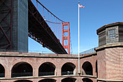 Brick Buildings Framed Prints - The Golden Gate Bridge at Fort Point 5D21567 Framed Print by Wingsdomain Art and Photography