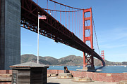 Brick Buildings Framed Prints - The Golden Gate Bridge at Fort Point 5D21586 Framed Print by Wingsdomain Art and Photography