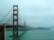 Sausalito Photos - The Golden Gate Bridge to Foggy Sausalito by Connie Fox