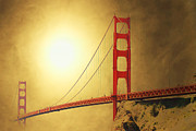 Bay Bridge Mixed Media Metal Prints - The Golden Gate Metal Print by Wingsdomain Art and Photography