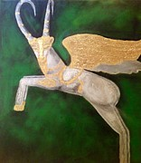 Museum Mixed Media Prints - The Golden Goat Print by Katy Shahandeh