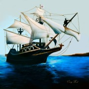 Ship Rough Sea Prints - The Golden Hind Print by Corey Ford