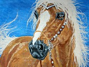Cowboy Drawings - The golden kind - palomino by Lucka SR