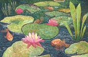 Pink Blossoms Tapestries - Textiles Posters - The Golden Pond Poster by Zoe Scroggs