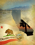 California State Map Digital Art - The Golden State by Ruta Naujokiene