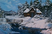 Snowy Stream Paintings - The Good Life by Sharon Duguay