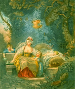 Fragonard Framed Prints - The Good Mother 1780 Framed Print by Padre Art