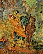 Parable Paintings - The Good Samaritan after Delacroix 1890 by Vincent Van Gogh