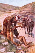 Road Travel Painting Posters - The good Samaritan Poster by Harold Copping