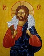 Jesus Christ Icon Prints - The Good Shepherd Print by Joseph Malham