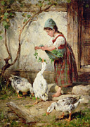 Geese Painting Posters - The Goose Girl Poster by Antonio Montemezzano
