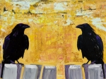 Birds Mixed Media Metal Prints - The Gossips Metal Print by Pat Saunders-White