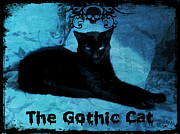 Print-on-demand Digital Art Posters - The Gothic Cat Poster by Absinthe Art  By Michelle Scott