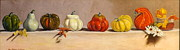 Pumpkins Paintings - THE GOURDS  a family portrait by Lee Bianco