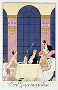 Waiter Painting Prints - The Gourmands Print by Georges Barbier