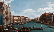 Water Vessels Painting Metal Prints - The Grand Canal at Venice Metal Print by Antonio Canaletto