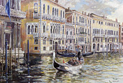 Mooring Painting Posters - The Grand Canal in the Late Afternoon  Poster by Rosemary Lowndes