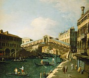 Water Vessels Painting Metal Prints - The Grand Canal   Venice Metal Print by Canaletto