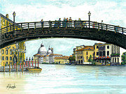 Albert Puskaric Drawings Prints - The Grand Canal Venice Italy Print by Albert Puskaric
