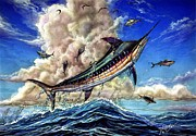 Black Marlin Painting Prints - The Grand Challenge  Marlin Print by Terry Fox