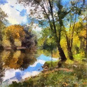 Ledge Mixed Media Prints - The Grand River In Autumn Print by J S