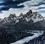 Adams Paintings - The Grand Tetons by Douglas Keil