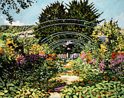 Gardenscapes Painting Framed Prints - The Grande Alle Monets Garden Framed Print by  David Lloyd Glover