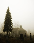 The Graveyard In The Fog  Print by Gothicolors Images