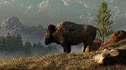 Western Themed Digital Art Posters - The Great American Bison Poster by Daniel Eskridge
