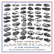 Poster Art Drawings Prints - The Great American Car Poster Print by Jack Pumphrey