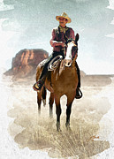 Saddle Mixed Media Posters - The Great American Cowboy Poster by John Guthrie