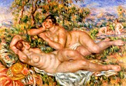 Blanket Digital Art Framed Prints - The Great Bathers Framed Print by Pierre Auguste Renoir