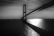 Denmark Framed Prints - The Great Belt Bridge Framed Print by Erik Brede