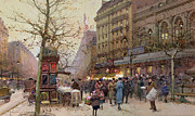 Parisian Street Scene Framed Prints - The Great Boulevards Framed Print by Eugene Galien-Laloue