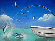Tropical Fish Paintings - The Great Catch 2 by Susi Galloway