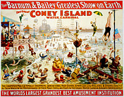 Rollers Posters - The Great Coney Island Water Carnival Poster by Nomad Art And  Design
