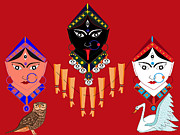Goddess Durga Digital Art Prints - The Great Goddesses Print by Pratyasha Nithin