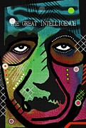 Intelligence Mixed Media Framed Prints - The Great intelligence Framed Print by David Rogers