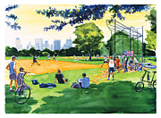 Baseball Art Print Painting Metal Prints - The Great Lawn Metal Print by Clifford Faust