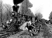 Ink Drawings - The Great Locomotive Chase by Bruce Kay