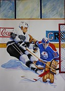 Hockey Mixed Media Prints - The Great One Print by Alan Salvaggio
