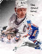 Edmonton Oilers Posters - The Great One Poster by Brian Menasco