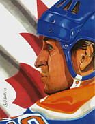 Hockey Drawings Framed Prints - The Great One Framed Print by Cory Still